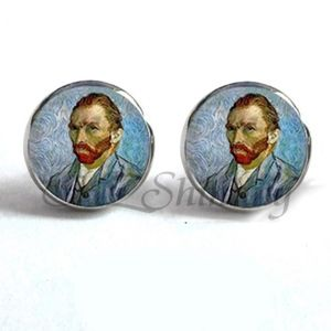 Jewelry - NEW Silver Round Van Gogh Painter Artist Earrings